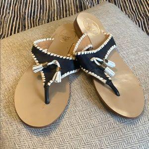 Jack Rogers Blue & White Tassel Sandals